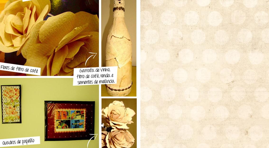 Flores de filtros de café, garrafas decoradas, mandalas e muito mais!