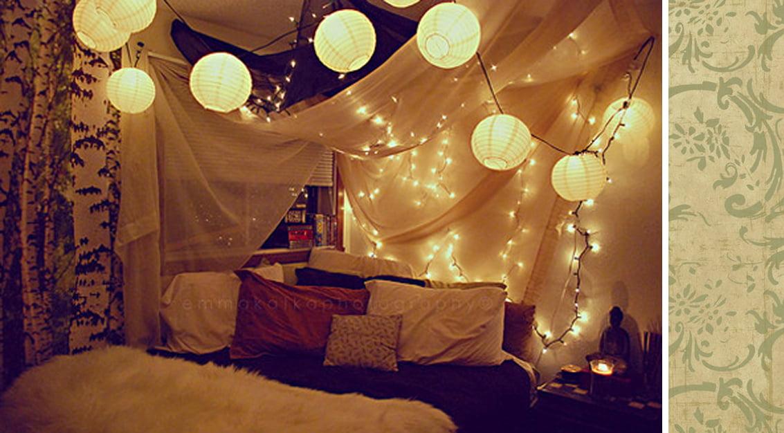 Inspiração do dia: luzes de natal na decoração do quarto!