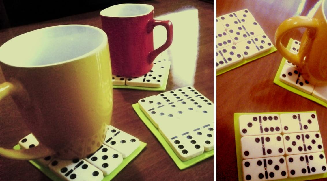 Criando em casa: porta-copos de dominós