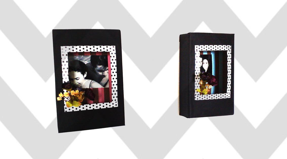 Criando em casa: porta-retrato com caixa de cereal
