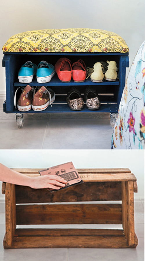 Inspira o e diy sapateiras criativas mania de decora o for Como hacer una zapatera de madera sencilla