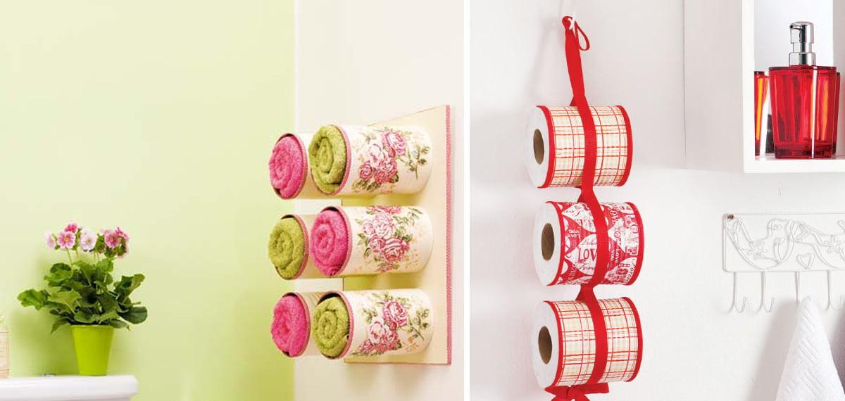 Como fazer porta toalhas e porta papel higiênico com latas  Mania de Decoração -> Armario De Banheiro Artesanal