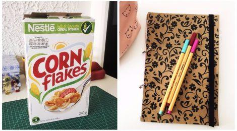 Como transformar uma caixa de cereal em agenda