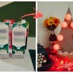 Como fazer uma árvore de Natal com caixa de leite e argamassa