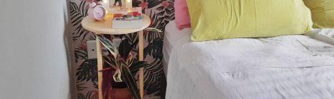 DIY mesa de cabeceira com formas de pizza