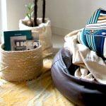 DIY cesto de sisal com cola quente