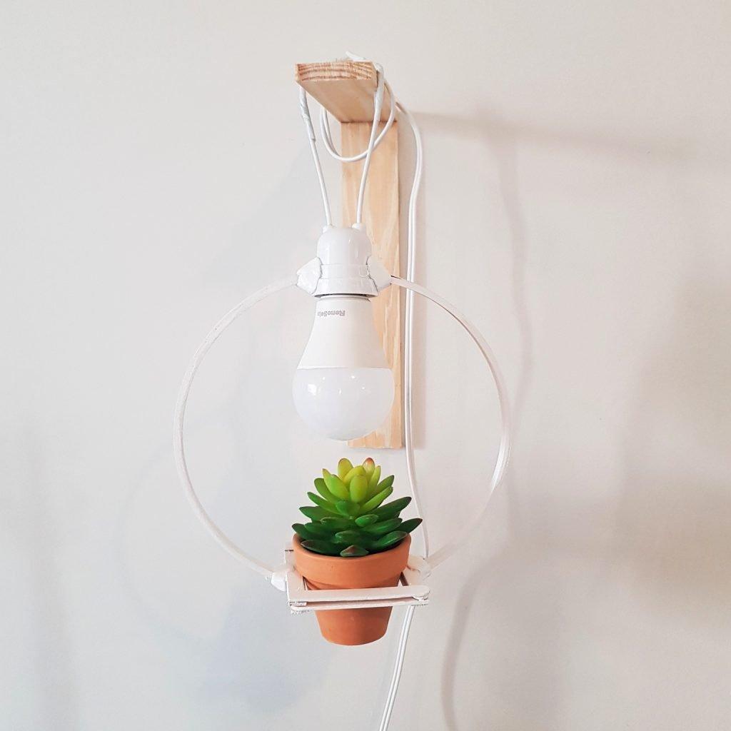 Luminária com planta DIY