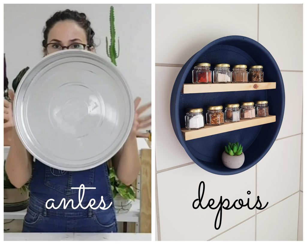 DIY Porta-temperos feito com forma de bolo