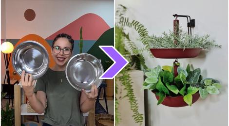 Suporte para planta feito com duas tigelas